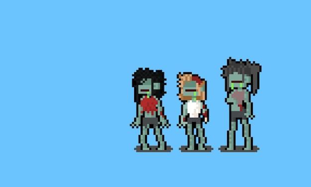 Пиксель арт женские персонажи зомби.