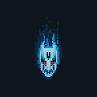 Пиксель арт значок головы дьявола огня