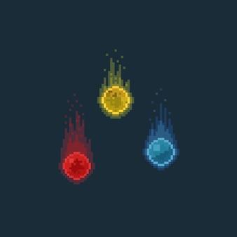 Pixel art fire spirit illustration set.