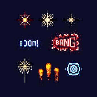 Pixel art firework icon design set.