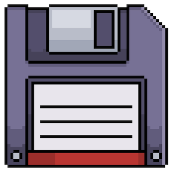 흰색 바탕에 8비트 게임용 픽셀 아트 플로피 디스크 아이콘