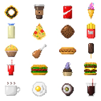 Pixel art food icons.