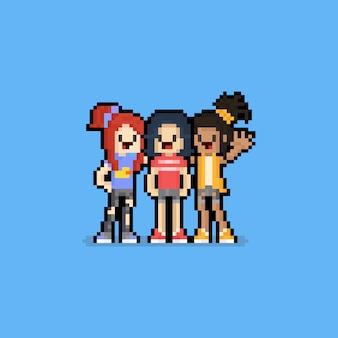 Pixel art friendship day cartoon girls character group.8bit.