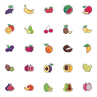 Pixel art fruits icon set