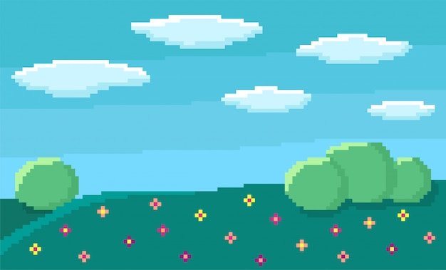 Pixel art game background with blue sky and clouds