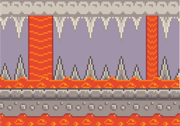 Pixel art game background with rocks and lava