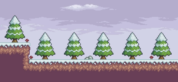 Пиксельная игровая сцена в снегу с сосновыми деревьями и облаками 8-битный фон