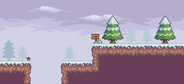 Пиксельная игровая сцена в снегу с соснами, облаками, индикативная доска, 8-битный фон