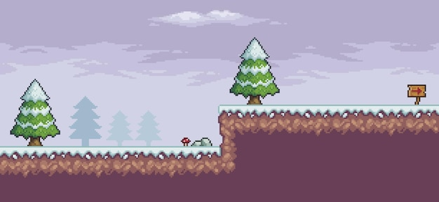Пиксельная игровая сцена в снегу с сосновыми деревьями, облаками, индикативная доска 8bit