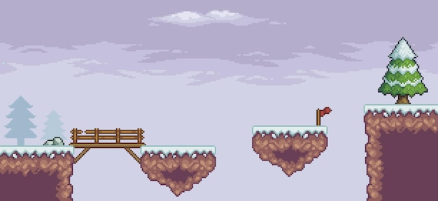Pixel art game scene in snow pine trees wood bridge flag 8bit background