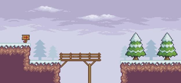 Pixel art game scene in snow pine trees wood bridge indicative board 8bit background