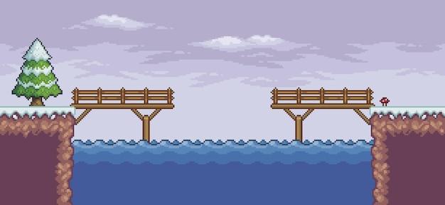 Pixel art game scene in snow pine trees wood bridge lake 8bit background