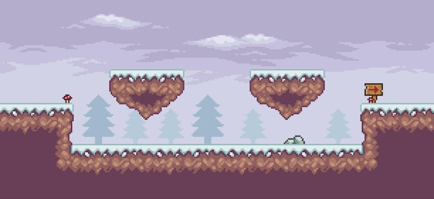 Pixel art game scene in snow with floating platform board pine trees and clouds 8bit background
