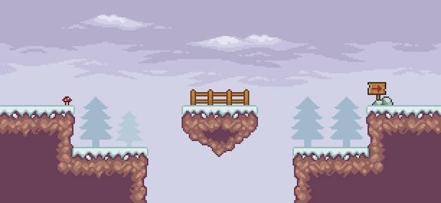 Pixel art game scene in snow with floating platform fence pine trees and flag 8bit background