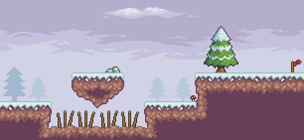 Pixel art game scene in snow with floating platform pine trees clouds and flag 8bit background