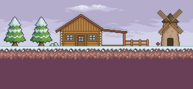 Pixel art game scene in snow with wood house mill pine trees and clouds 8bit background