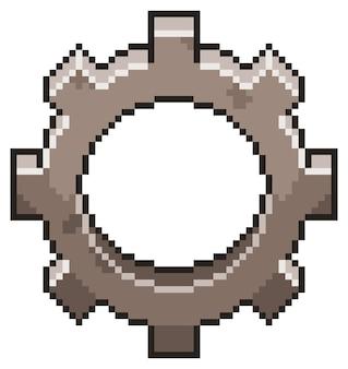 白い背景の上のビットゲームのピクセルアートギアアイコン