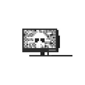 Pixel art ghost television icon design.