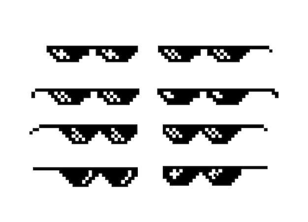 Пиксель арт очки мема жизни бандит, изолированные на белом фоне векторные иллюстрации