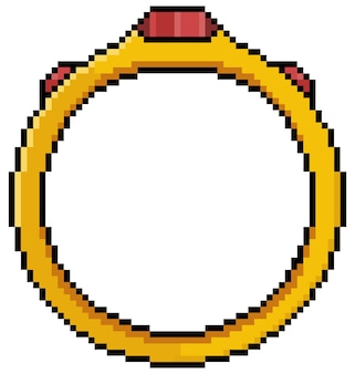 Pixel art golden ring icon for 8bit game on white background