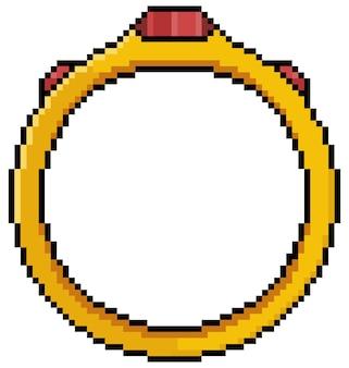 白い背景の上の8ビットゲームのピクセルアートゴールデンリングアイコン