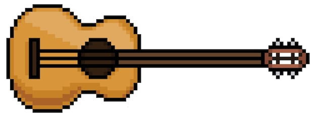 Pixel art guitar musical instrument item for game bit on white background