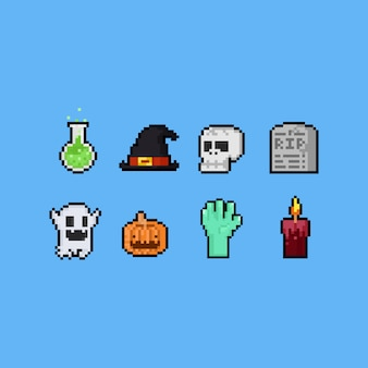 Pixel art halloween elements set