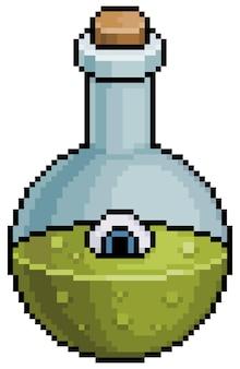 Пиксель арт значок волшебного зелья хэллоуина для 8-битной игры на белом фоне