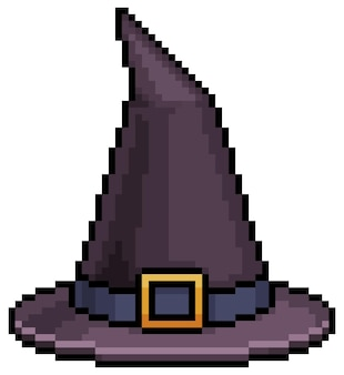 Pixel art halloween witch hat icon for 8bit game on white background