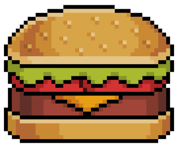 Pixel art hamburger with bread steak cheese lettuce and tomato bit game item on white background