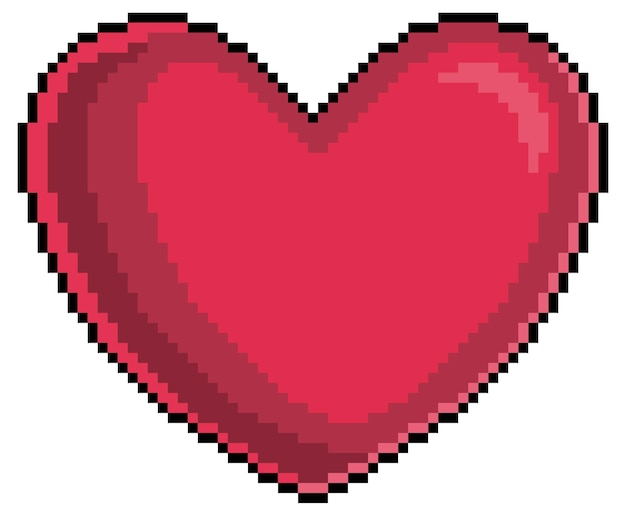 Pixel art heart icon for bit game on white background