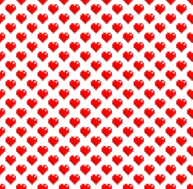 Pixel art heart pattern background vector