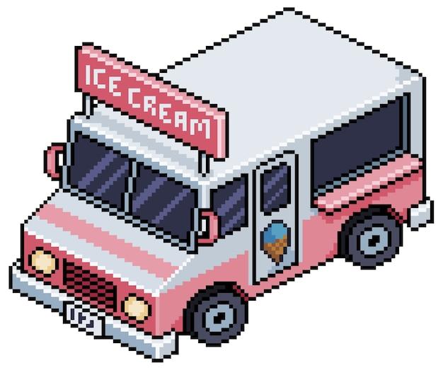 Пиксель арт автомобиль мороженого бит игровой автомобиль на белом фоне