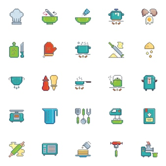Pixel art icon kitchen utensil vector set