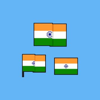 Pixel art india flag set