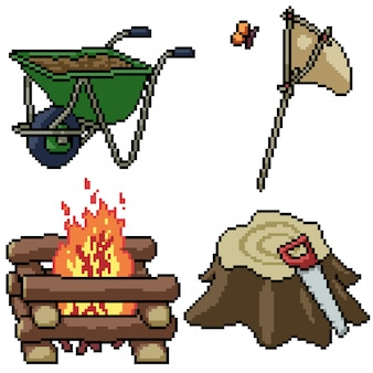 Pixel art isolated camp tool