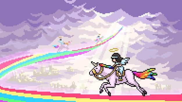 Pixel art isolated unicorn racing