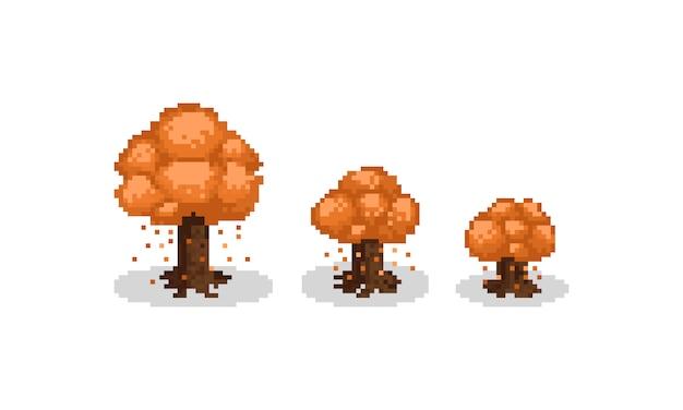 Pixel art isometric autumn tree set. 8bit.