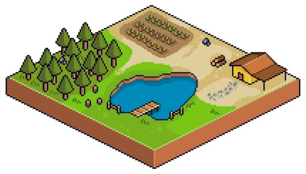 Pixel art isometric farm isolated on white