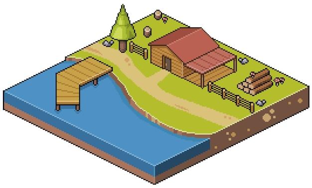 Пиксель-арт изометрический пейзажный дом на берегу озера и немного летнего лагеря