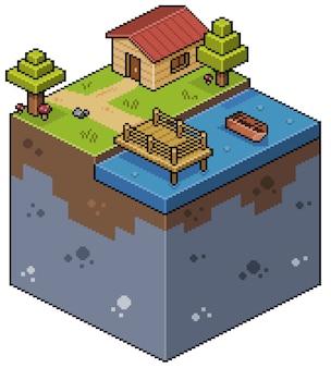 Пиксель-арт изометрический пейзаж с домом, озером, деревянной палубой, лодкой и деревьями