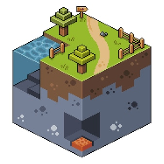 Pixel art isometric landscape with trees lake and cave bit game