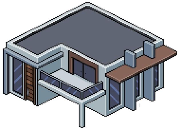 Пиксель арт изометрические современное строительство дома, изолированные на белом