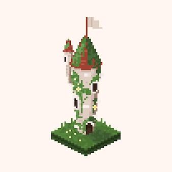 Пиксель-арт изометрическая старая башня с растениями