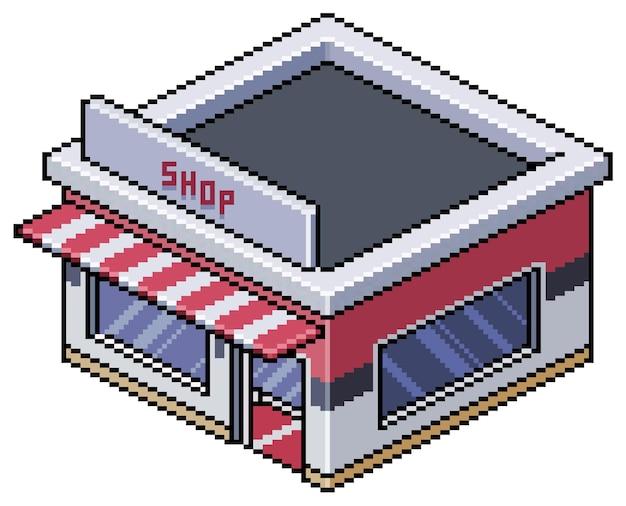Пиксель-арт изометрический магазин в городе для бит-игры