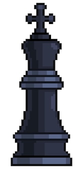 Pixel art king chess piece item for 8bit game on white background