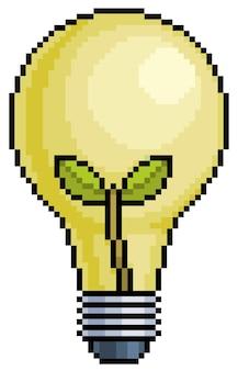 Пиксель-арт лампа с зеленой энергией растений и экологическим значком для 8-битной игры на белом фоне