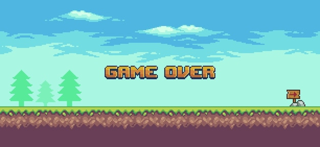 Pixel art landscape 8bit game game over background with grass trees and clouds