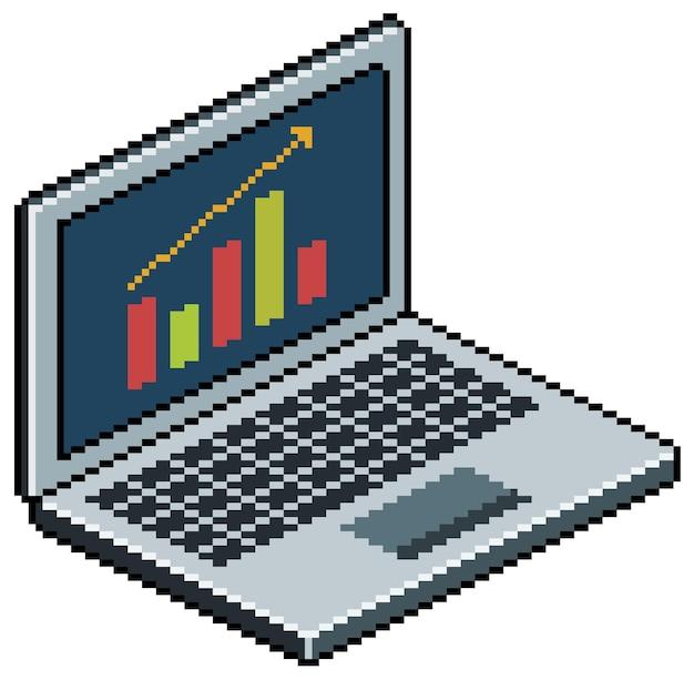 画面にグラフィックを表示するピクセルアートラップトップコンピューター。白い背景の上のビットゲームアイテム