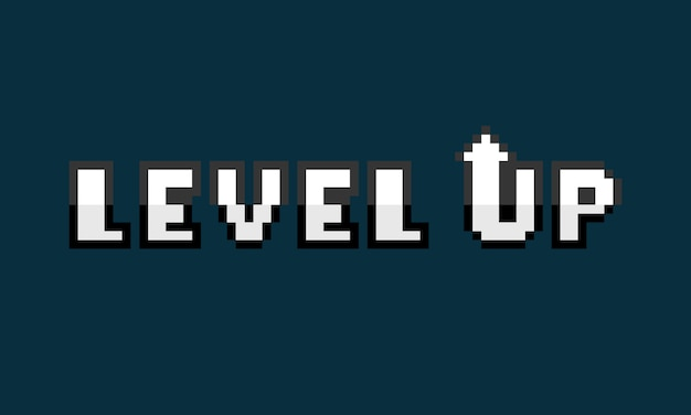 Pixel art level up text